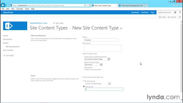 Creating content types: Creating Quick No-Code SharePoint Business Solutions with Composites