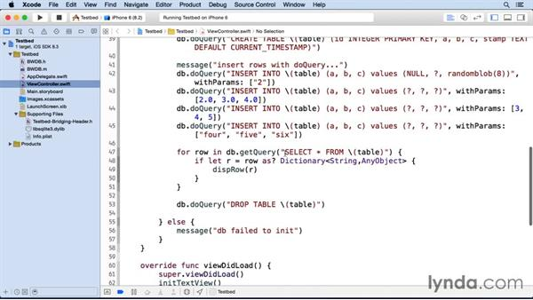 Testing the BWDB interface in the testbed: iOS SDK and SQLite: Building Data-Driven Apps