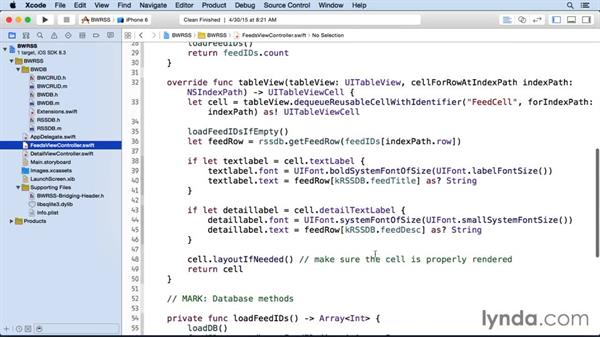 Populating the table view: iOS SDK and SQLite: Building Data-Driven Apps