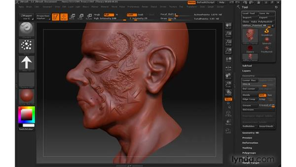 Sculpting fine details with alphas : ZBrush 3 for Windows Essential Training