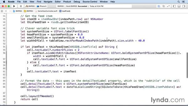 Updating the item view with the feed items: iOS SDK and SQLite: Building Data-Driven Apps