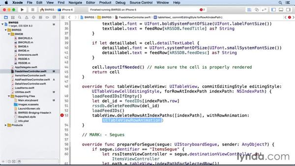 Deleting feeds: iOS SDK and SQLite: Building Data-Driven Apps