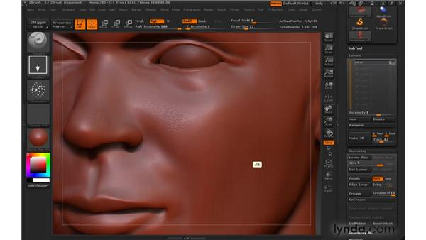 Isolating details with 3D layers: ZBrush 3 for Windows Essential Training