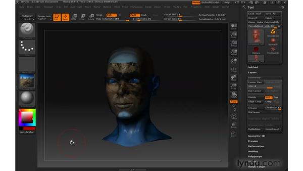 Applying textures: ZBrush 3 for Windows Essential Training