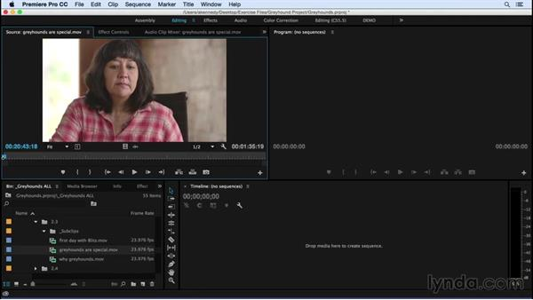 Selecting shots: Premiere Pro CC Essential Training (2015)