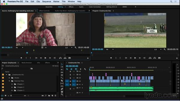 Playing and marking shots in preparation for editing: Premiere Pro CC Essential Training (2015)