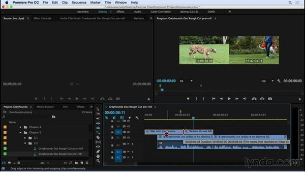 Adjusting transitions using the Rolling Edit tool: Premiere Pro CC Essential Training (2015)