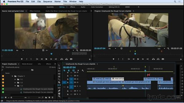 Changing clip content and position: Slipping and sliding edits: Premiere Pro CC Essential Training (2015)