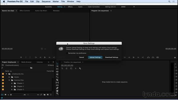 Using the Sync Settings features in Premiere Pro: Premiere Pro CC Essential Training (2015)