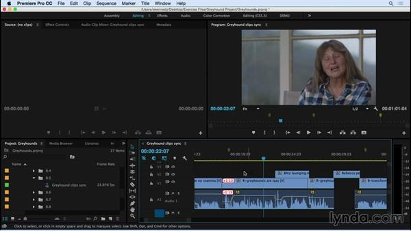 Fixing out-of-sync audio: Premiere Pro CC Essential Training (2015)
