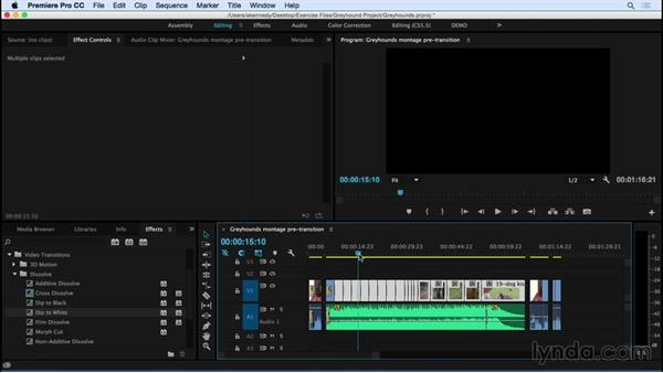 Adding and modifying transition effects: Premiere Pro CC Essential Training (2015)