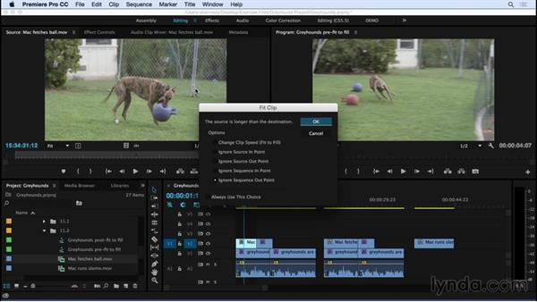 Performing fit-to-fill editing: Premiere Pro CC Essential Training (2015)