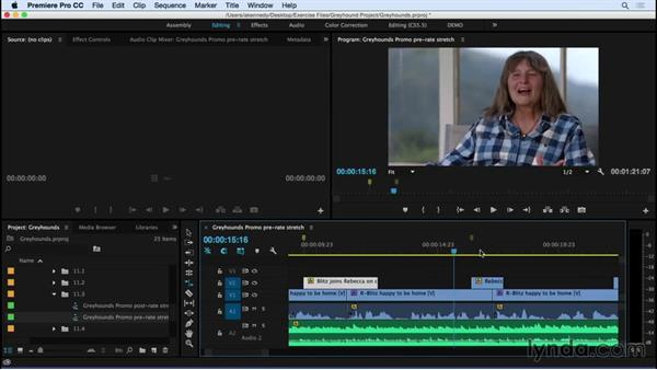 Using the Rate Stretch tool to change clip speed: Premiere Pro CC Essential Training (2015)