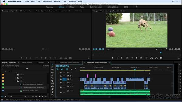 Using the Clip Speed/Duration window for precise speed changes: Premiere Pro CC Essential Training (2015)