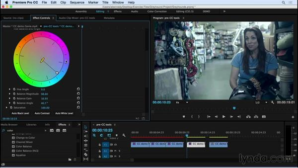 Taking a brief look at some color correction tools: Premiere Pro CC Essential Training (2015)