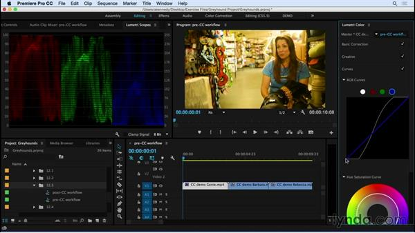 Following a proper color correction workflow using the Lumetri color toolset: Premiere Pro CC Essential Training (2015)