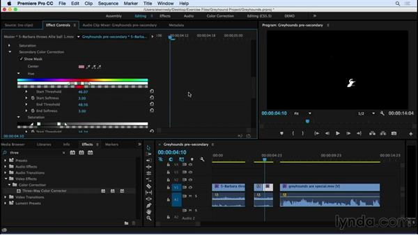 Performing secondary color correction: Premiere Pro CC Essential Training (2015)