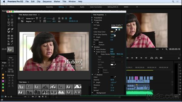 Creating a basic lower third title: Premiere Pro CC Essential Training (2015)