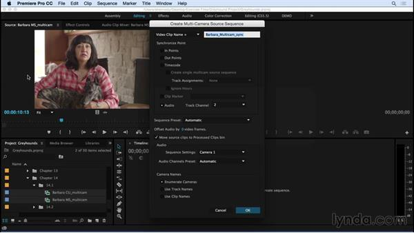 Syncing your multicam group clips: Premiere Pro CC Essential Training (2015)