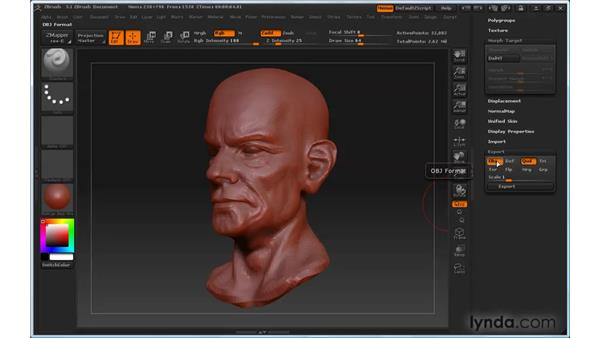 Exporting models: ZBrush 3 for Windows Essential Training