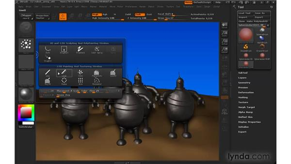 Modifying paintbrushes with stroke types: ZBrush 3 for Windows Essential Training