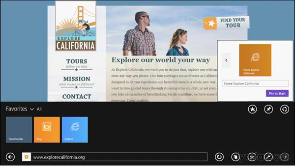 Using pinned sites: Up and Running with Internet Explorer