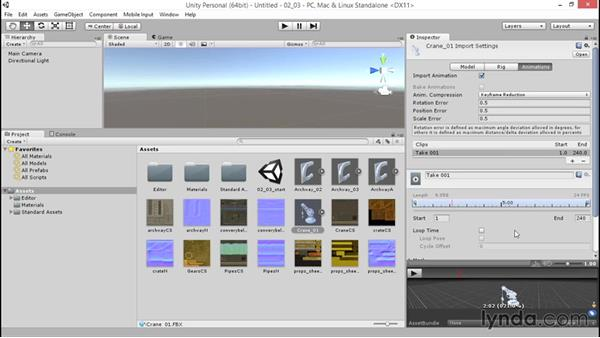 Importing animation: Unity 5: 3D Essential Training