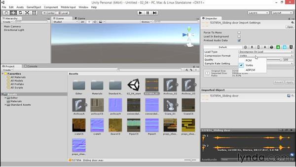 Importing audio: Unity 5: 3D Essential Training