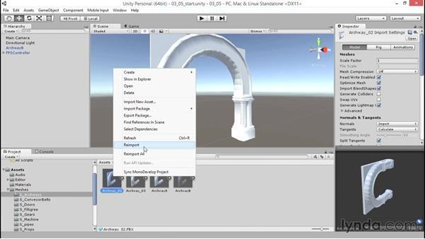 Updating geometry in a prefab: Unity 5: 3D Essential Training