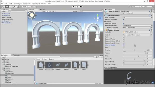 Adding audio clips to a prefab: Unity 5: 3D Essential Training