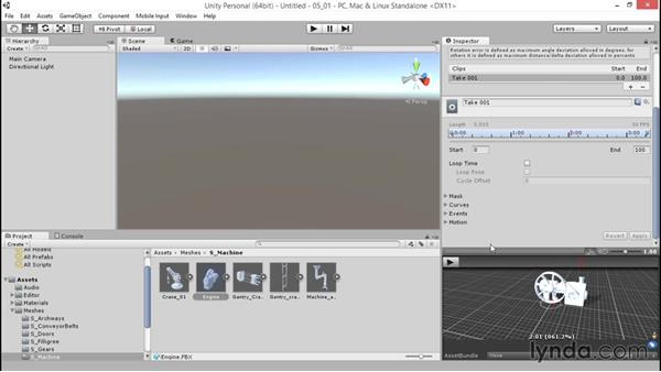Segmenting imported animation into clips: Unity 5: 3D Essential Training