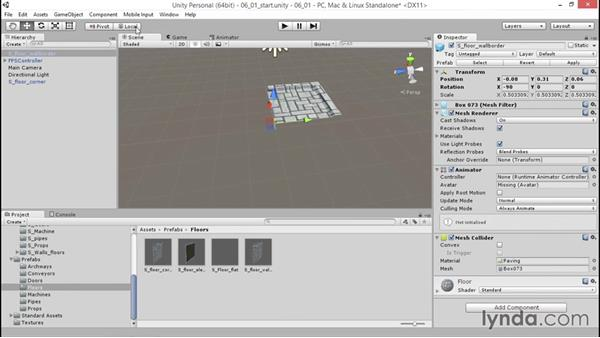 Instancing prefabs to build a level: Unity 5: 3D Essential Training