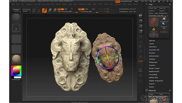 Baking lighting into the graphic: ZBrush 3 for Windows Essential Training