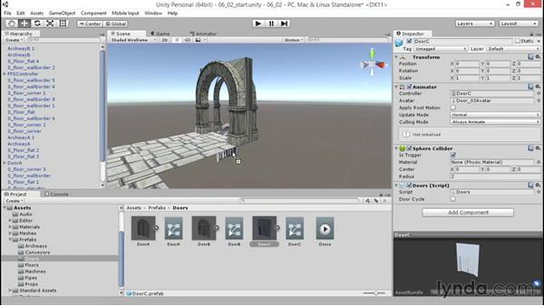 Placing level prefabs for variety: Unity 5: 3D Essential Training