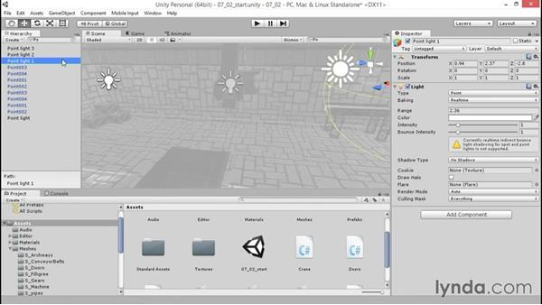 Creating and adjusting point lights: Unity 5: 3D Essential Training