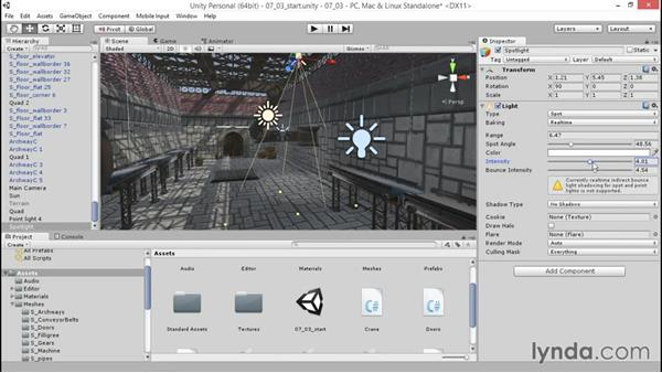 Adding mood with spot lights: Unity 5: 3D Essential Training