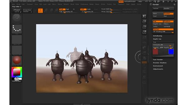 Creating a sense of depth using fog: ZBrush 3 for Windows Essential Training