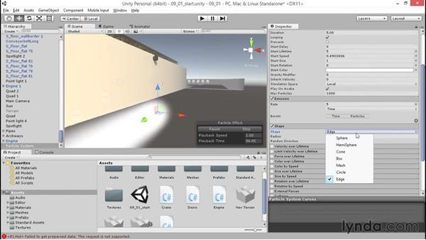 Creating a particle system: Unity 5: 3D Essential Training