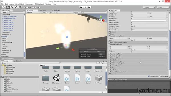 Adjusting the behavior of particles: Unity 5: 3D Essential Training