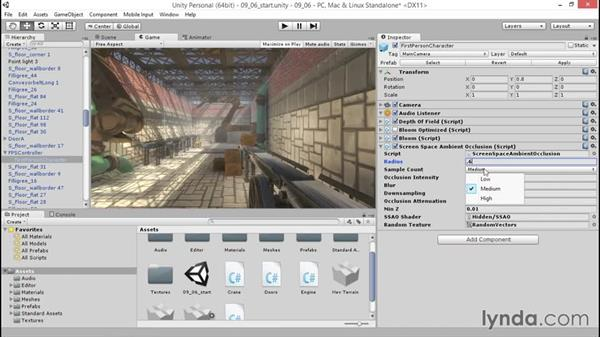 Grounding the scene with ambient occlusion: Unity 5: 3D Essential Training