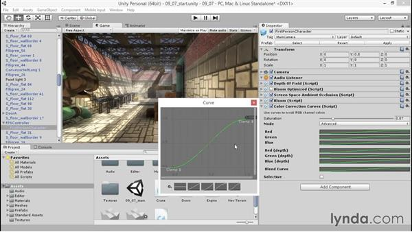 Using color correction to create a mood: Unity 5: 3D Essential Training
