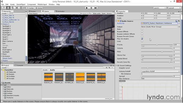 Bringing the environment to life with ambient sound: Unity 5: 3D Essential Training