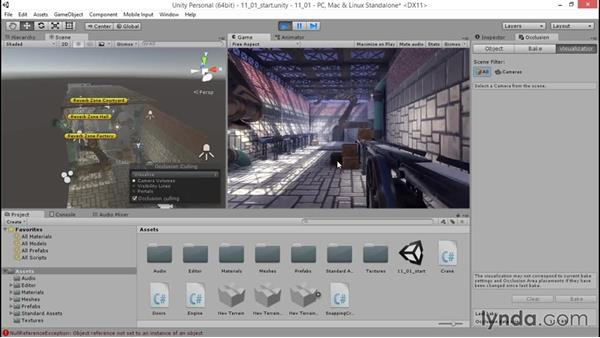 Setting up occlusion culling: Unity 5: 3D Essential Training