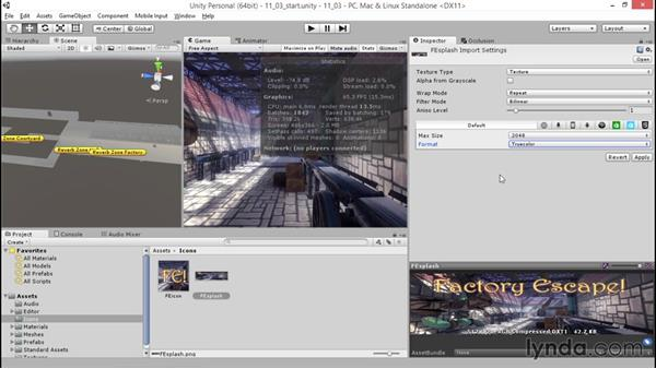 Creating a splash screen and icon: Unity 5: 3D Essential Training