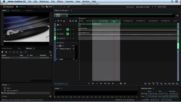 Using markers to spot to picture: Sound Design for Motion Graphics