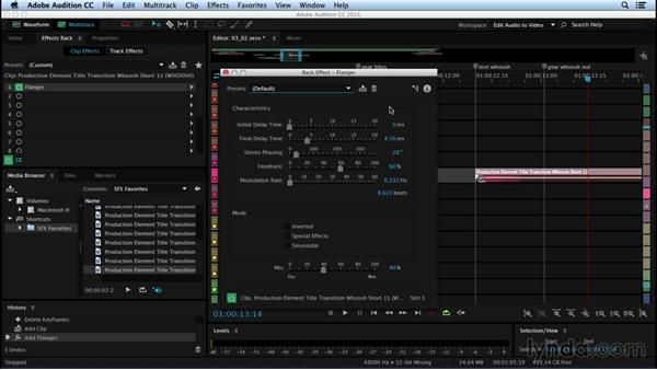 Using real-time clip effects for sound design: Sound Design for Motion Graphics