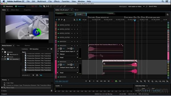 Reversing and editing clips for effect: Sound Design for Motion Graphics