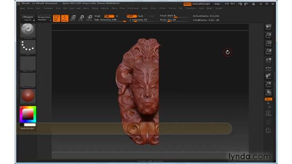 Can't see some parts of the model: ZBrush 3 for Windows Essential Training