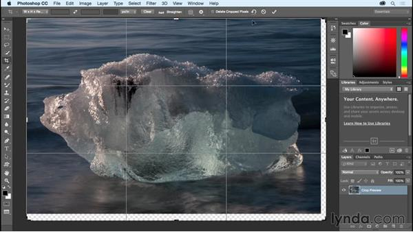Making the canvas bigger using the Crop tool: Photoshop CC Essential Training (2015)