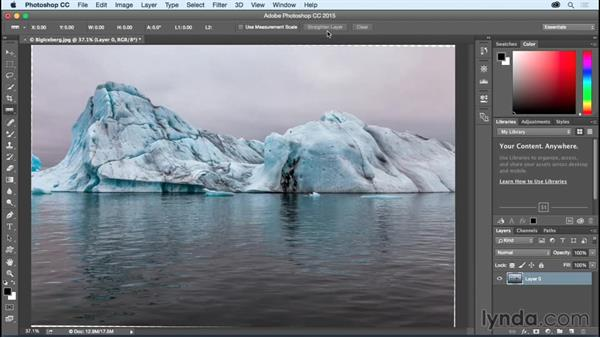 Straightening a crooked image: Photoshop CC Essential Training (2015)